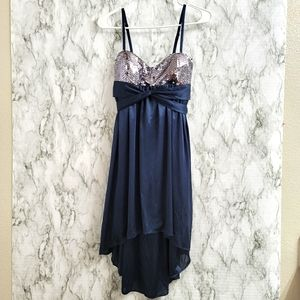 Morgan & Co. Blue and Silver Sequence Dress Size S